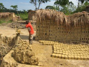 Making bricks is a great way to earn income in Uganda
