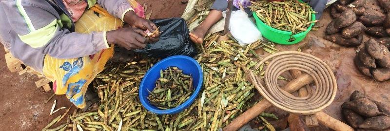 Fresh beans for sale in Ugandan market