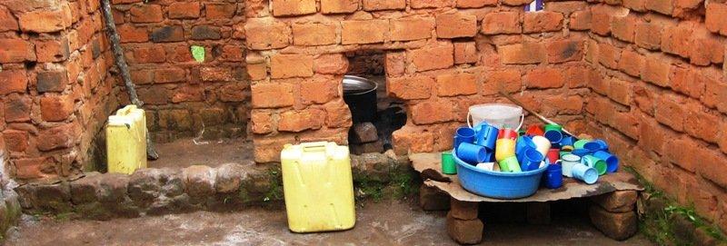 An outdoor Ugandan kitchen