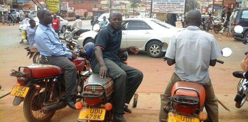Ugandan motorcycle taxis are called bodabodas