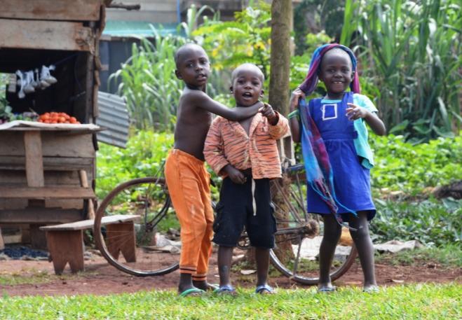 Ugandan kids playing in the village