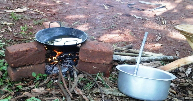 Cooking on an open fire in rural Uganda