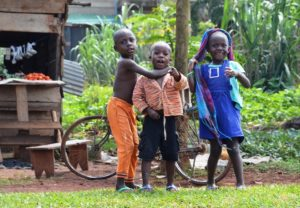 Ugandan kids playing in the village