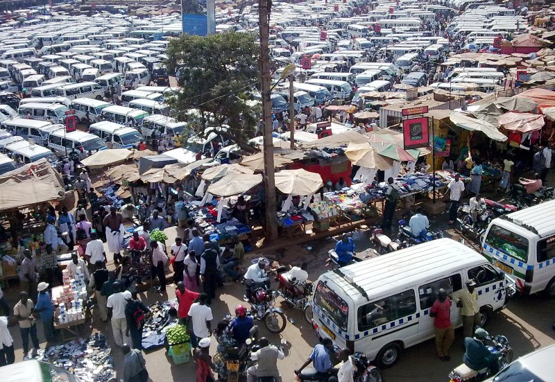 Kampala's Old Taxi Park has transport to almost all points in south central Uganda, organized chaos