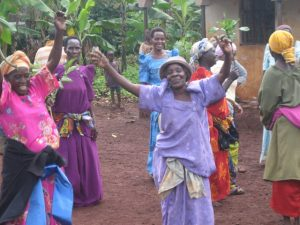 Ugandan women dancing in celebration