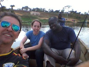 Volunteers on a boat ride on the River Nile, Uganda