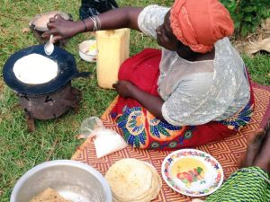 cooking chapatti in Uganda
