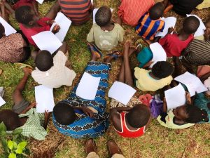 Teaching students in Uganda