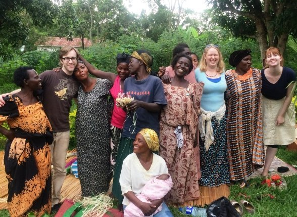 volunteers with ugandan women's group
