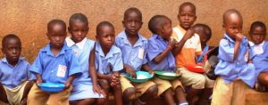 ugandan school children having lunch
