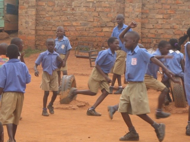 Ugandan kids playing at school