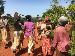 communal farmers in Uganda coming home from their fields