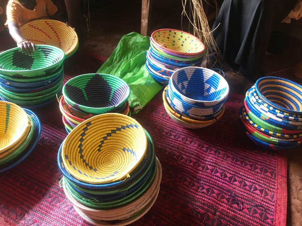 Ugandan baskets. Ugandan handicrafts.