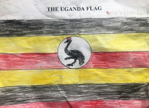 children's drawing of Uganda flag